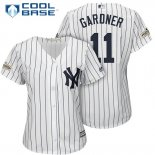 Maglia Baseball Donna New York Yankees 2017 Postseason Brett Gardner Bianco Cool Base
