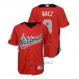 Maglia Baseball Bambino All Star Game Majestic Javier Baez 2018 Home Run Derby National League Rosso