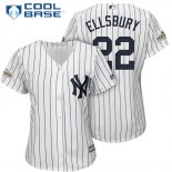Maglia Baseball Donna New York Yankees 2017 Postseason Jacoby Ellsbury Bianco Cool Base