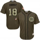 Maglia Baseball Uomo Chicago Cubs 18 Ben Zobrist Verde Salute To Service
