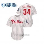 Maglia Baseball Uomo Philadelphia Phillies 34 Roy Halladay Cool Base Majestic 2019 Hall Of Fame Induction Bianco