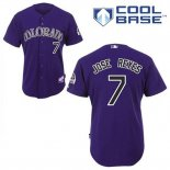 Maglia Baseball Uomo Colorado Rockies Jose Reyes 7 Viola Alterner Cool Base