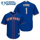 Maglia Baseball Uomo New York Mets Chris Young 1 Blu Alterner Cool Base