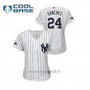 Maglia Baseball Donna New Y Ork Yankees 24 Gary Sanchez 2019 Postseason Cool Base Bianco