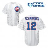 Maglia Baseball Uomo Chicago Cubs 12 Kyle Schwarber Bianco Home Cool Base