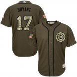 Maglia Baseball Uomo Chicago Cubs 17 Majestic Olive Kris Bryant Salute To Service