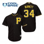Maglia Baseball Uomo Pittsburgh Pirates A.j. Burnett 34 Nero Alterner Cool Base