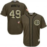 Maglia Baseball Uomo Chicago Cubs 49 Jake Arrieta Verde Salute To Service