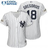 Maglia Baseball Donna New York Yankees 2017 Postseason Didi Gregorius Bianco Cool Base