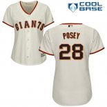 Maglia Baseball Donna San Francisco Giants San Francisco Giant Buster Posey Crema Cooperstown Cool Base