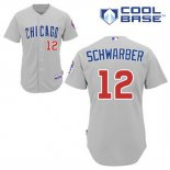 Maglia Baseball Uomo Chicago Cubs 12 Kyle Schwarber Grigio Cool Base