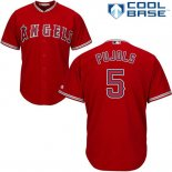 Maglia Baseball Uomo Los Angeles Angels 5 Albert Pujols Scarlet Cool Base