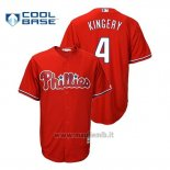 Maglia Baseball Uomo Philadelphia Phillies Scott Kingery Cool Base Fashion Majestic Official Scarlet