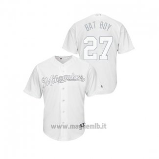 Maglia Baseball Uomo Milwaukee Brewers Zach Davies 2019 Players Weekend Replica Bianco