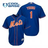 Maglia Baseball Uomo New York Mets Chris Young 1 Blu Alterner Home Cool Base