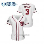 Maglia Baseball Donna Washington Nationals 3 Michael A. Tayl Or 2019 World Series Bound Cool Base Bianco