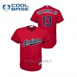 Maglia Baseball Bambino Cleveland Indians 13 Odell Beckham Jr Cool Base Mlb X Nfl Rosso