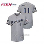 Maglia Baseball Uomo Milwaukee Brewers Mike Moustakas 2019 All Star Flex Base Grigio