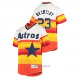 Maglia Baseball Bambino Houston Astros Michael Brantley Cooperstown Collection Primera Bianco Arancione