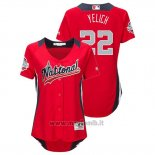 Maglia Baseball Donna All Star Game Majestic Christian Yelich 2018 Home Run Derby National League Rosso