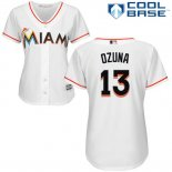 Maglia Baseball Donna Miami Marlins 13 Marcell Ozuna Bianco Autentico Collection Cool Base