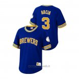 Maglia Baseball Uomo Milwaukee Brewers Orlando Arcia Cooperstown Collection Blu