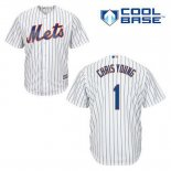 Maglia Baseball Uomo New York Mets Chris Young 1 Bianco Home Cool Base