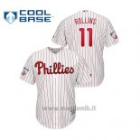 Maglia Baseball Uomo Philadelphia Phillies 11 Jimmy Rollins Cool Base Majestic Primera Retirement Bianco