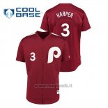 Maglia Baseball Uomo Philadelphia Phillies 3 Bryce Harper 1979 Saturday Night Special Autentico Rosso