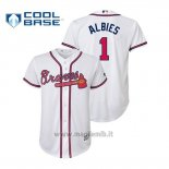 Maglia Baseball Bambino Atlanta Braves Ozzie Albies Cool Base Majestic Official Home Bianco