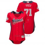 Maglia Baseball Donna All Star Game Majestic Josh Hader 2018 Home Run Derby National League Rosso