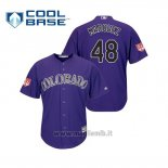 Maglia Baseball Uomo Colorado Rockies German Marquez Cool Base Entrenamiento De Primavera 2019 Viola
