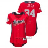 Maglia Baseball Donna All Star Game Majestic Jon Lester 2018 Home Run Derby National League Rosso