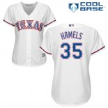 Maglia Baseball Donna Texas Rangers Cole Hamels Bianco Autentico Collection Cool Base