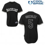 Maglia Baseball Uomo Colorado Rockies Carlos Gonzalez 5 Nero Fashion Cool Base