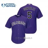 Maglia Baseball Uomo Colorado Rockies Carlos Gonzalez Cool Base Official Alternato Purple
