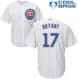 Maglia Baseball Uomo Chicago Cubs 17 Kris Bryant Bianco Autentico Collection Cool Base