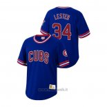 Maglia Baseball Uomo Chicago Cubs Jon Lester Cooperstown Collection Blu
