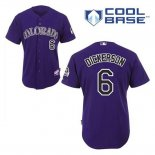Maglia Baseball Uomo Colorado Rockies Corey Dickerson 6 Viola Alterner Cool Base