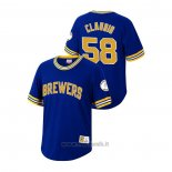 Maglia Baseball Uomo Milwaukee Brewers Alex Claudio Cooperstown Collection Blu