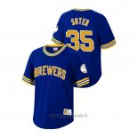 Maglia Baseball Uomo Milwaukee Brewers Brent Suter Cooperstown Collection Blu
