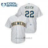 Maglia Baseball Uomo Milwaukee Brewers Christian Yelich Cool Base Official Alternato Bianco