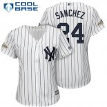 Maglia Baseball Donna New York Yankees 2017 Postseason Gary Sanchez Bianco Cool Base
