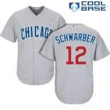 Maglia Baseball Uomo Chicago Cubs 12 Kyle Schwarber Cool Base Grigio