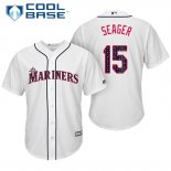 Maglia Baseball Uomo Seattle Mariners 2017 Estrellas y Rayas Kyle Seager Bianco Cool Base
