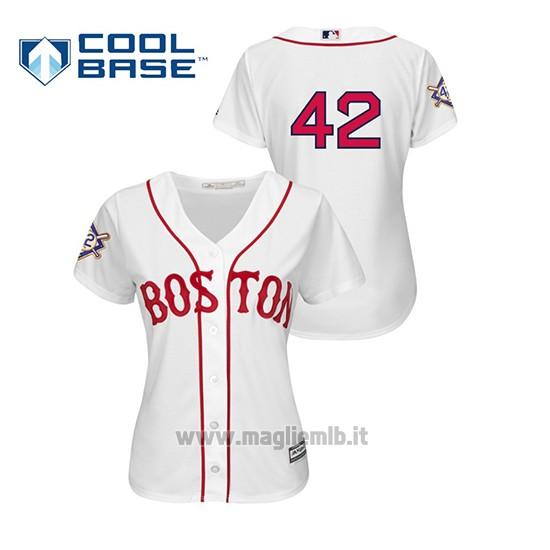 Maglia Baseball Donna Boston Red Sox 2019 Jackie Robinson Day Cool Base Bianco